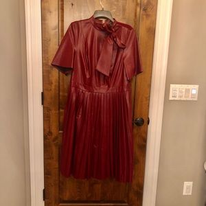 Eloquii faux leather burgundy pleated dress.